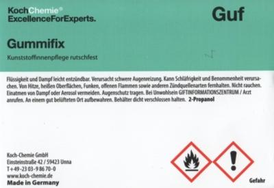 Koch Chemie Etiketten für Leerflaschen Guf   Gummifix