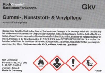 Koch Chemie Etiketten für Leerflaschen Gkv | Gummi-, Kunststoff- & Vinylpflege